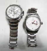 Hugo Boss chronograph and date watch with stainless steel bracelet together with another Hugo Boss