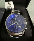 Emporio Armani stainless steel strap blue face dial chronograph wristwatch with box