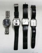 4 Kenneth Cole watches to include 2 with leather straps, 1 with rubber strap and 1 with a