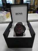 Hugo Boss chronograph and date black and red accent watch with rubberised strap in box