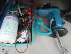 Quarter bay of garden tools including strimmer, small Black & Decker shredder, loppers, sprayer, etc