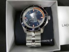 Lacoste gents stainless steel strap wristwatch with box