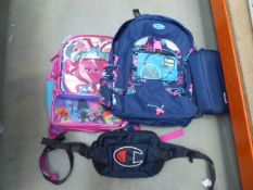 Mixed bags including girl's backpack, Champion waist bag etc All items have light use.