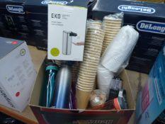 Box of drink bottles, paper cups, soap dispenser etc