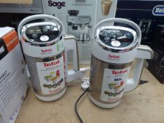 Two unboxed Tefal easy soup makers, both with blades Light use