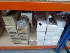 Seven boxes of glass ashtrays plus large quantity of plastic gold coloured name badges