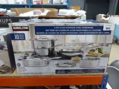Kirkland clad stainless steel cookware set with box
