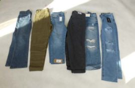 Selection of denim wear to include River Island, New Look, PrettyLittleThing, etc