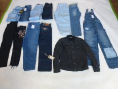 Selection of denim wear to include Levi, BDG, Next, etc