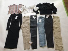 Selection of Zara clothing to include tops, trousers, dress, etc