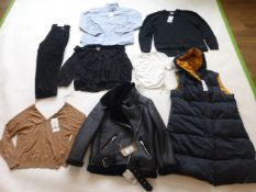 Selection of Zara clothing to include jackets, tops, trousers, etc