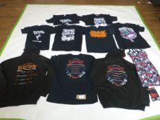 Selection of rock / music clothing to include My Chemical Romance, Rainbow, Stranglers, etc