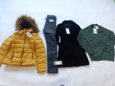 Selection of Zara clothing to include top dress, jeans and jacket sizes XS, M and 38