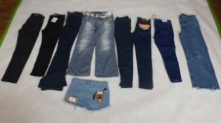 Selection of denim wear to include Levi, New Look, Weekday, etc
