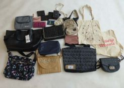 Selection of bags, wallets, backpacks, etc