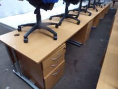 Five 160cm light oak straight front work stations on cantilever legs, each with matching three