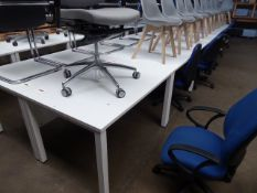 Six 120cm white work stations on straight legs