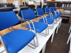 Six metal frame blue cloth reception chairs