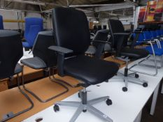 Sedus black leather executive swivel arm chair