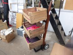 Point of sale in the style of an old sack barrow and 3 potato crates