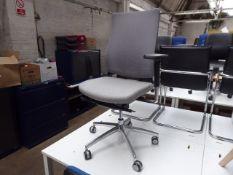 (37) - Boss Design grey cloth seated grey mesh back chrome frame swivel armchair