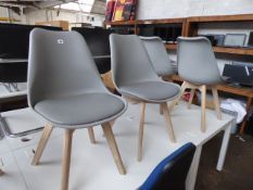 Six Habitat chairs with natural wooden finished legs and grey seat and seat pad