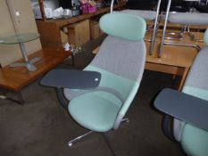 Senator grey and mint cloth swivel chair with swinging work station