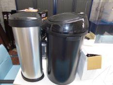 2 bins, microwave, coffee machine, kettle and 2 flasks