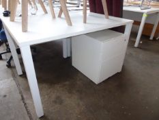 One 120cm white straight front work station on straight legs three drawer pedestals