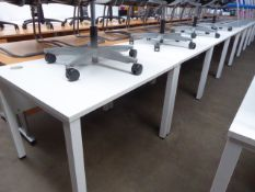 Four 100cm straight front white work stations on straight legs