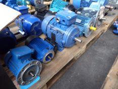 Five assorted motors, Brook Hansen; unbranded MS90L4, 1.5kw; Weg AL112-M, 4.8kw and a Gamak F.