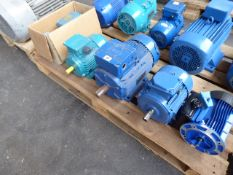Four assorted motors plus a pump, Lowara FCE4 50-125/02/A; Marelli Motori A4C1062A00017, 2.4kw;