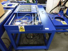 Blue Welded Specialist workbench with Servo controlled threaded bar sliding table, 0.5x0.6m with