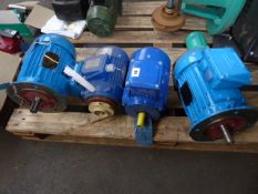 Four assorted motors, Weg, 1.1kw; Pullen SKK-1040/2, 1.9kw; Weg, 1.1kw and 1 other
