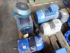 Four assorted motors, CMG SLA 112M-A, 4kw; Siemens 1LA7113-4AA60, 4.6kw; Weg AL132S-2, 6.3kw and 1
