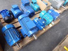 Five assorted motors, Lafert ST90SC2, 1.7kw; Brook Crompton A-DA90LA 2 B3-PTO, 2.64kw; unbranded 0.
