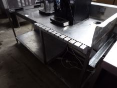 145 - 190cm stainless steel preparation table with shelf under