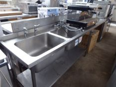 47 - 315cm stainless steel double bowl sink unit with tap sets, draining board and a hand basin with