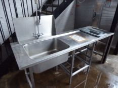 49 - 200cm single bowl sink unit with pre wash tap set, waste disposal space, space under for