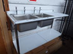 96 - 150cm 2 bowl stainless steel sink unit with draining board and shelf under with tap set, boxed