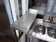 30cm stainless steel infill table with shelf under