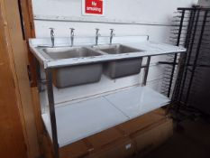 95 - 150cm 2 bowl stainless steel sink unit with draining board and shelf under with tap set