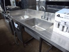 125 - 280cm stainless steel single bowl sink unit with tap set, draining board, hand basin, space