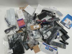 Bag containing quantity of remotes, cables, phone cases, etc