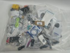 Bag containing quantity of mobile phone accessories; cables, adapters, wireless chargers,