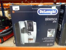 (TN77) - Delonghi Dinamica plus coffee machine with box Item is used, light turns on