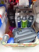 Tray containing mixed assorted Contigo drinking bottles, Titan lunch pack etc