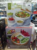 Easy living serving set plus bamboo lazy susan serving set