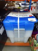 Small stack of 15L storage boxes, one is cracked