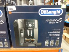 (TN16) - Delonghi Magnifica S Smart coffee machine with box Item is used, lights turn on
